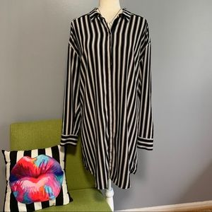 Express Striped Long Sleeve Shirt Dress C3
